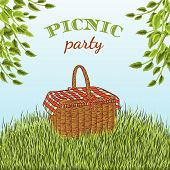 Picnic party in meadow with picnic basket and tree branches. Summer vacation. Hand drawn vector illustration poster