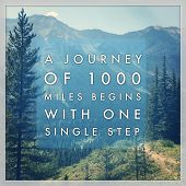 Inspirational Typographic Quote - A journey of 1000 miles begins with one single step poster