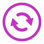 Refresh raster icon. This rounded flat symbol is drawn with violet color on a white background. poster