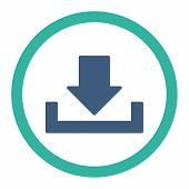 Download vector icon. This rounded flat symbol is drawn with cobalt and cyan colors on a white background. poster