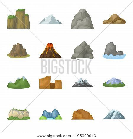 Rock, peak, volcano, and other kinds of mountains. Different mountains set collection icons in cartoon style vector symbol stock illustration .