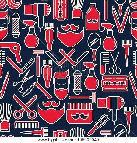 Barber shop seamless pattern with thin line icons of shaving accessories. Vector illustration for background in red and blue colors.
