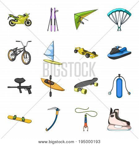 Motorcycle racing, downhill skiing, jumping, parachuting and other sports. Extreme sports set collection icons in cartoon style vector symbol stock illustration .