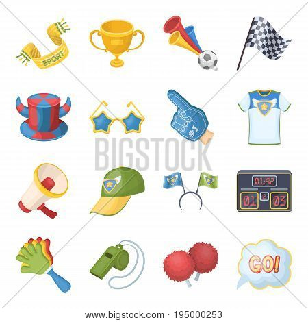 Cap, scoreboard, whistle and other fans equipment. Fans set collection icons in cartoon style vector symbol stock illustration.