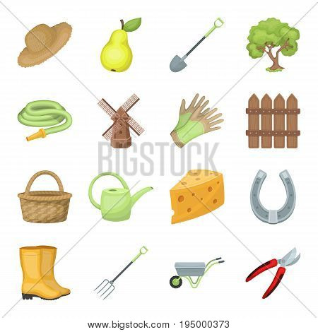 Mill, gloves, fence and other farm equipment. Farm and gardening set collection icons in cartoon style vector symbol stock illustration.