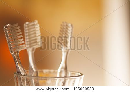 Cup with toothbrushes on yellow -orange blurred background with space for advertising.