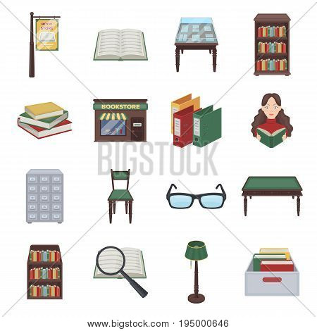 Library and bookstore set icons in cartoon design. Big collection of library and bookstore vector symbol stock illustration