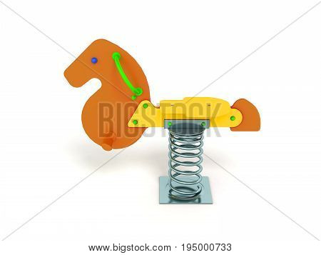 Playground For Children Spring Horse Yellow Green Orange On The Front Perspective 3D Render On A Whi