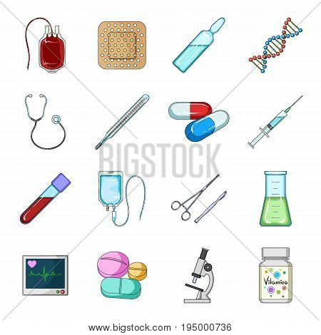 Donor, plaster, vaccine and other medical, medicine equipment. Medical, medicine set collection icons in cartoon style vector symbol stock illustration.