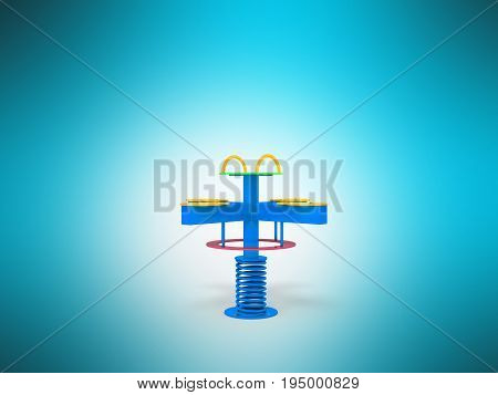 Playground Children Spring Yellow Yellow Red 3D Render On Blue Background