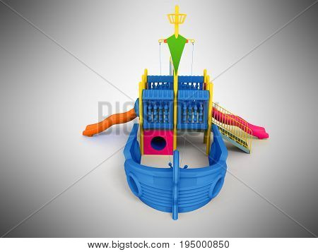 Playground For Children Ship Blue Front 3D Rendering On A Gray Background