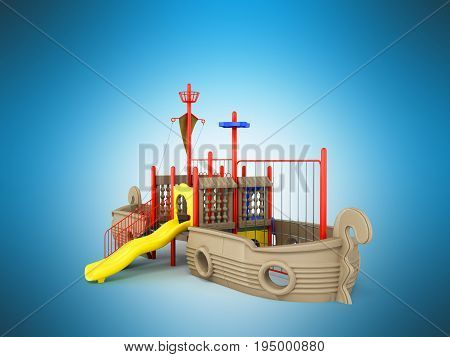 Playground For Children Ship Red Yellow Blue 3D Rendering On Blue Background