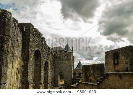 Image of wall and towers in Carcassonne fortified town in France.