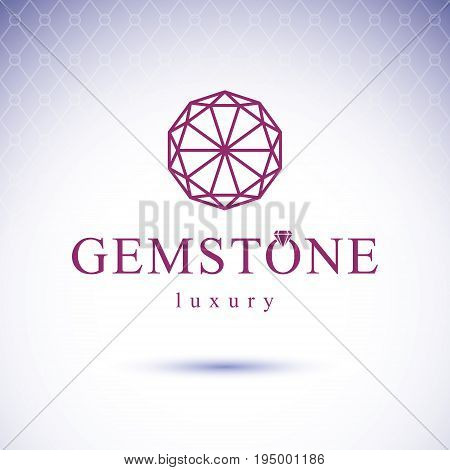 Vector abstract geometric shape best for use as creative business logo. Faceted gemstone or brilliant. poster