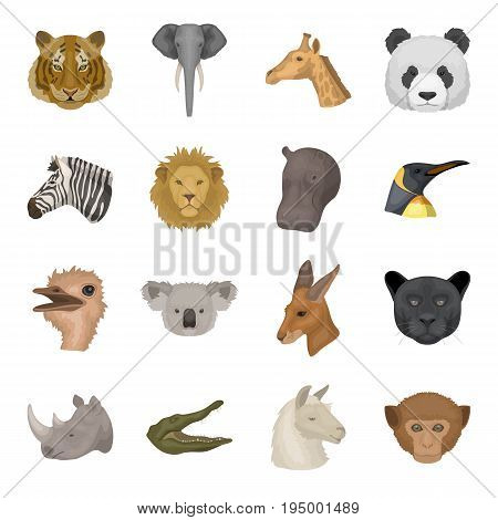 Realistic animals set icons in cartoon design. Big collection of realistic animals vector symbol stock illustration