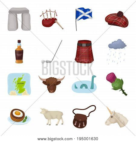 Scotland country set icons in cartoon design. Big collection of Scotland country vector symbol stock illustration