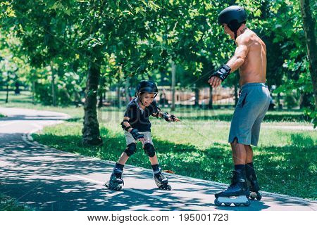 Grandfather And Grandson Spending Quality Time, Roller Skating, Color Image, Toned Image