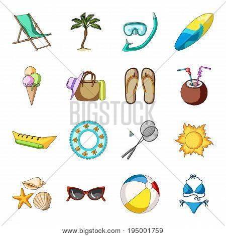 Chaise longue, ice cream, glasses items for summer holidays.Summer rest set collection icons in cartoon style vector symbol stock illustration .