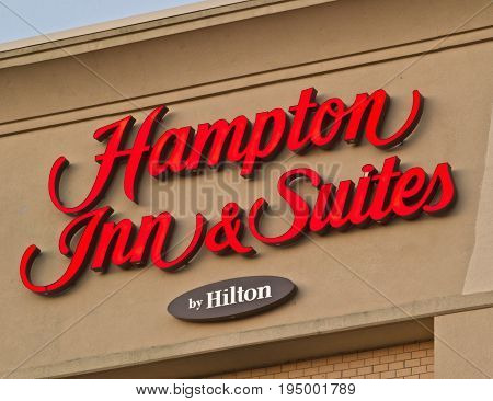 DARTMOUTH CANADA - JULY 10 2017: Hampton Inn is currently the largest franchise in the United States. Trademarked by Hilton the hotel brands include: Hampton Inn Hampton Inn & Suites Hampton Hotels and Hampton by Hilton.