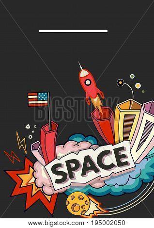 Card vector template illustration of space. Moon, planet, rocket, earth, cosmonaut, comet universe Classification milky way cosmos