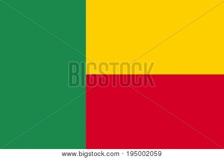 Benin flag, Dahomey, People's Republic, country in West Africa, two horizontal yellow and red bands on the fly side and a green vertical band at the hoist. Flat style vector illustration