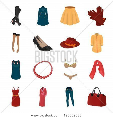 Dress, bra, shoes, women's clothing. Women's clothing set collection icons in cartoon style vector symbol stock illustration .