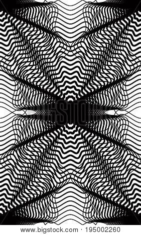 Vector monochrome stripy illusive endless pattern art continuous geometric background with graphic lines and geometric figures. Kaleidoscope illustration.