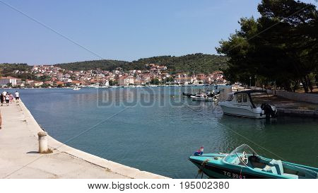 Trogir, Croatia - June 23, 2017: View of the city from the tower of the Cathedral of Sts. Lawrence