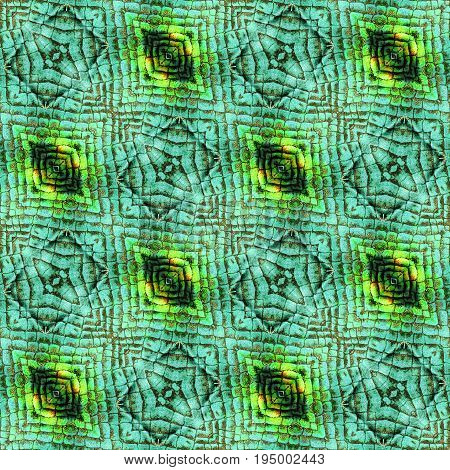 Abstract seamless wrinkled pattern of scales resembling snake skin. Green black orange and yellow background with reptile texture