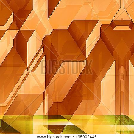 Abstract modern futuristic background with orange blocks. Orange and yellow background with lines and prisms resembling modern architectural features. 3d illustration