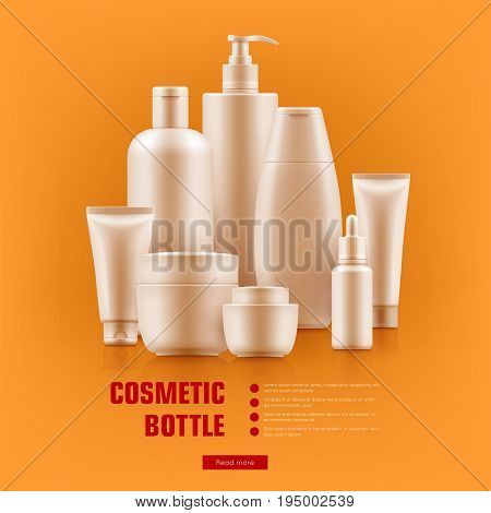 Realistic cosmetic bottle. Beauty products mockup, hair, skin-care, makeup and fragrance set. Fashion glam concept. Realistic vector illustration on orange background