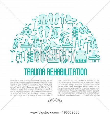 Orthopedic and trauma rehabilitation concept with thin line icons for web page or banner of clinics and medical centers. Vector illustration.
