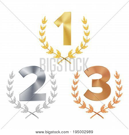 Trophy Award Set Vector. Award. Figures 1, 2, 3 One, Two, Three In A Realistic Gold Silver Bronze Laurel Wreath. Winner Trophy Award. Isolated