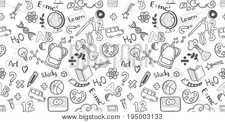 Back to school seamless vector pattern. Good for textile fabric design, wrapping paper, banners, posters and educational website wallpapers. Vector illustration. Doodle drawings