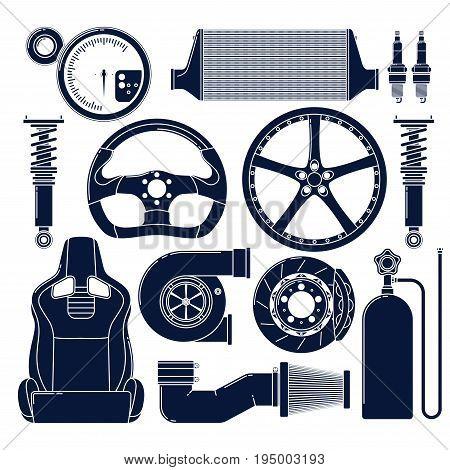 Auto parts. Single color vector icons set.