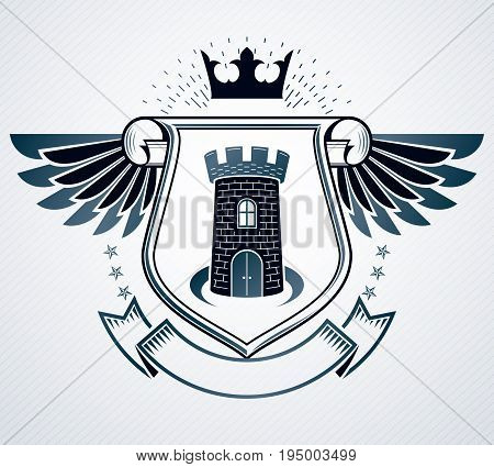 Vintage emblem vector heraldic design creatde using protection shield with cartouche and medieval tower
