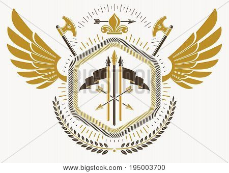 Heraldic emblem made using graphic elements like bird wings hatchets and armory vector illustration.