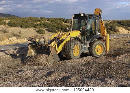 Bulldozer,Bulldozer in the process, bulldozer working, excavator