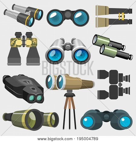 Different design binocular glasses look-see military, travel zoom search ocular equipment vector illustration. Navigation technology optical view watch equipment instrument