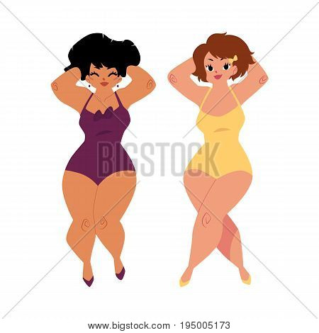 plump, curvy women, girls, plus size models in swimming suits, top view cartoon vector illustration isolated on white background. Beautiful plump, overweight women, girls in swimming suits