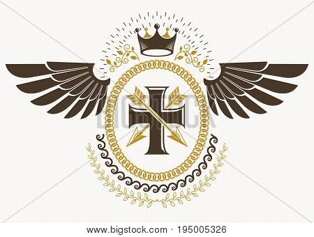 Heraldic emblem made using graphic elements like bird wings religious cross and royal crown vector illustration.