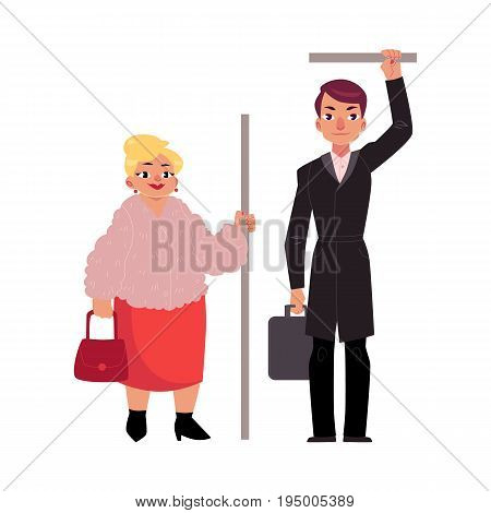 Plump middle age woman and Businessman holding briefcase standing in subway, holding handrail, cartoon vector illustration isolated on white background. Full length portrait of funny