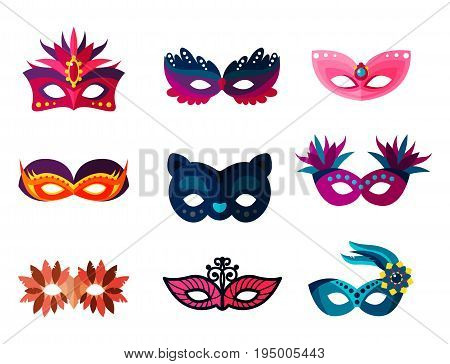 Authentic handmade venetian painted carnival face masks collection for party decoration or masquerade realistic isolated vector illustration. Glitter elegance costume holiday symbol