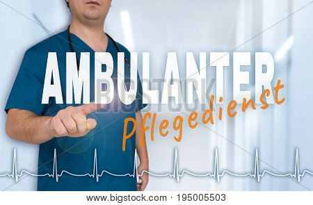 Ambulanter Pflegedienst (in German Outpatient Care) Doctor Shows On Viewer With Heart Rate Concept