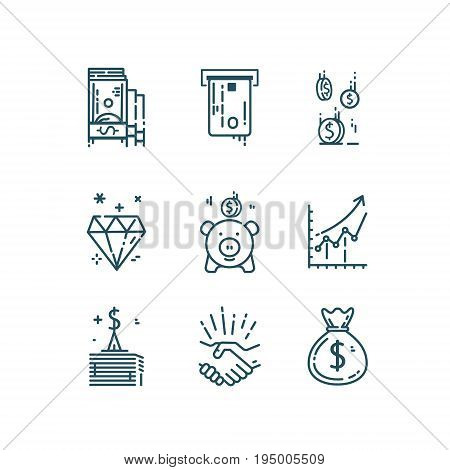 Money, finance line icons set. Simple vector design elements isolated on white background.