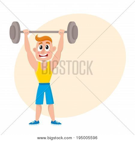 Young man doing shoulder press with barbell, training, weightlifting in gym, cartoon vector illustration with space for text. Cartoon man, guy training with barbell, bodybuilding in gym