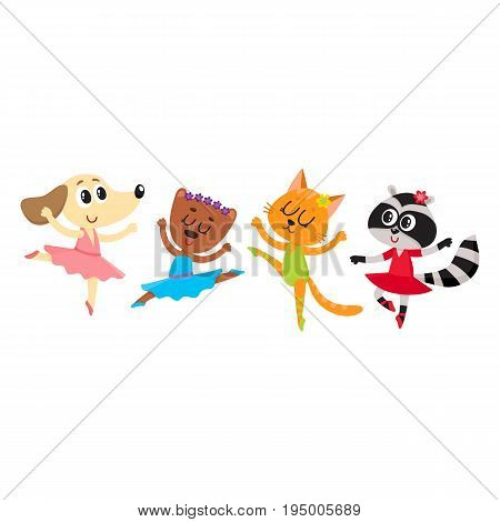 Cute little animal characters - cat, dog, bear, raccoon - dancing ballet, cartoon vector illustration isolated on white background. Baby animals, ballet dancers, ballerinas in tutu and pointed shoes