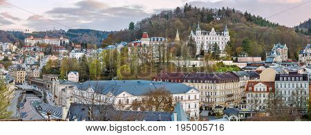 Panoramic view of historical center of Karlovy Vary from hill Czech republic