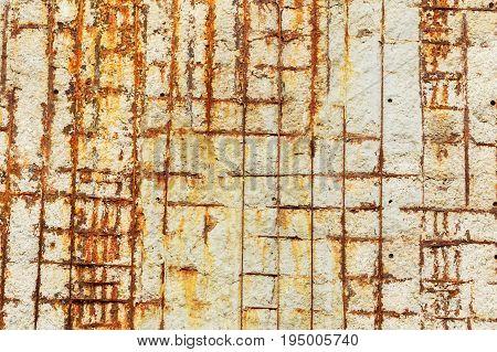 Metal fittings, old concrete wall, grange texture background. Concrete texture with fittings