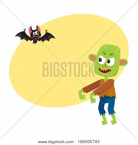 Halloween monsters - green zombie and vampire bat, cartoon vector illustration with space for text. Green monster, zombie and vampire bat, traditional Halloween symbol